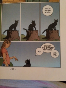 Coraline meeting the friendly black cat for the very first time. See the moment-to-moment/panel-to-panel scene we are in, with the cat licking his back. I wonder if we really need such a miniscule scene (page 39).