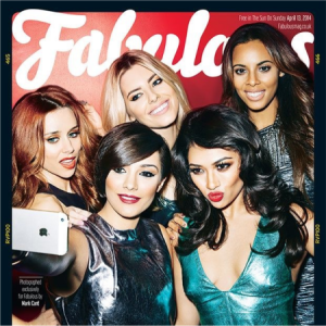 UK Girl Group The Saturdays posing selfie-style for Fabulous magazine (Source: The Saturdays.co.uk)