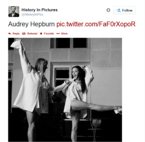 A photo tweeted by HistoryinPics claiming to be Audrey Hepburn. Nope. (Source: HistoryinPics)